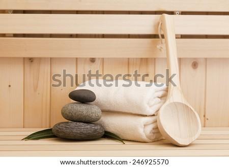 zen stones and spa accessories - stock photo
