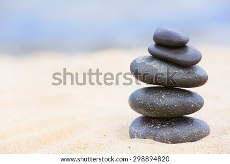 Zen stones balance spa on beach