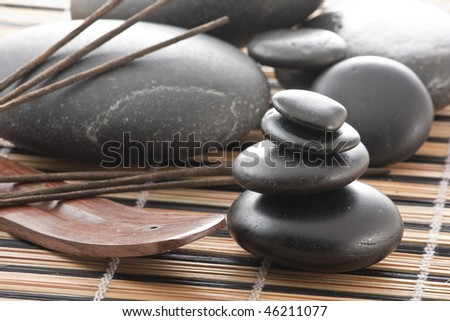 Zen stones composed with some aroma sticks