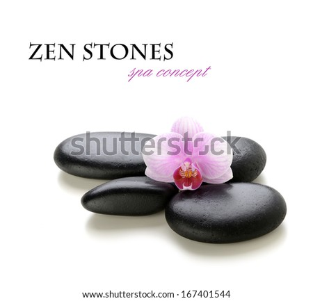 zen stones on a white background - stock photo