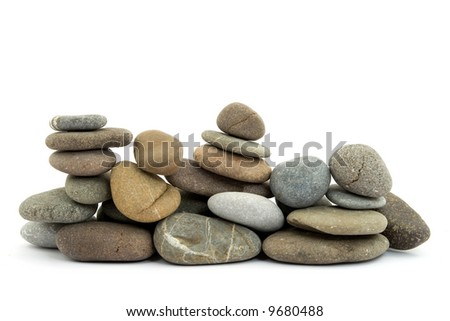 zen stones on pile studio isolated