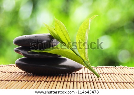 zen stones with green leaves and copyspace showing wellness - stock photo