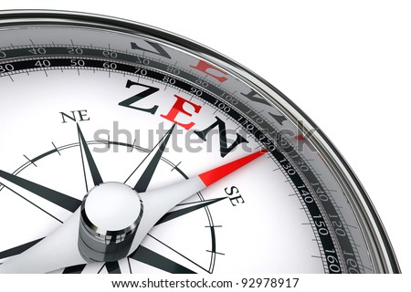 zen towards east indicated by compass conceptual image