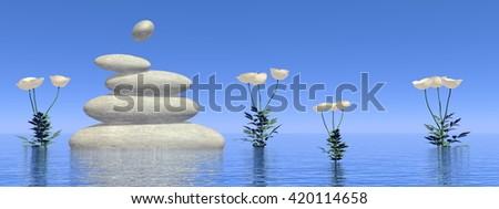 Zen white poppies - 3D render - stock photo