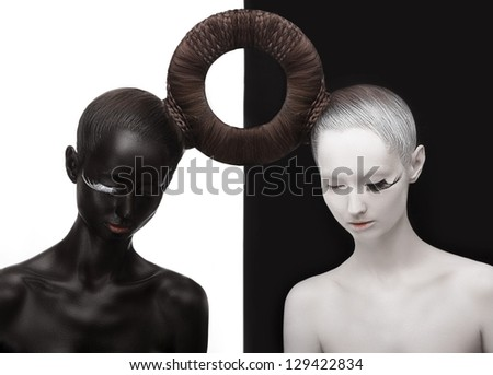 Zen. Yin and Yang. Silhouette of Two People. Black & White Symbol. Creative Orient Concept - stock photo