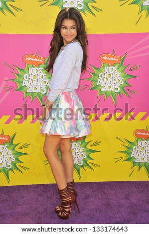 Zendaya at Nickelodeon's 26th Annual Kids' Choice Awards at the Galen Centre, Los Angeles. March 23, 2013  Los Angeles, CA Picture: Paul Smith