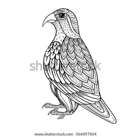 Zentangle Falcon, bird hawk of prey, predatory for adult anti stress coloring page. Ornamental tribal patterned illustration for tattoo, poster or print. Hand drawn monochrome sketch. Bird collection. - stock photo