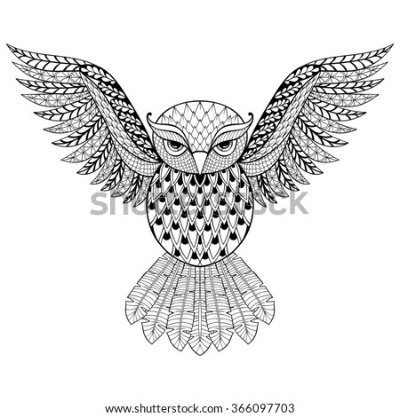Zentangle Owl for adult anti stress coloring pages. Ornamental tribal patterned illustratian for tattoo, poster or print. Hand drawn monochrome sketch. Bird, animal collection.