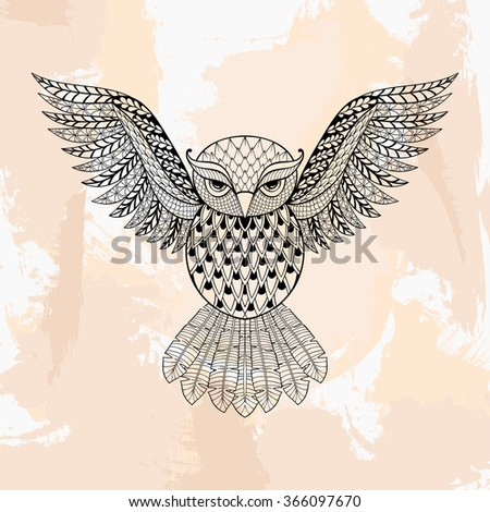 Zentangle Owl, tattoo in hipster style. Ornamental tribal patterned illustration for adult anti stress coloring pages. Hand drawn black sketch isolated on grunge background. Bird collection.