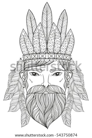 Vector Zentangle Portrait Man Mustache Beard Stock Vector