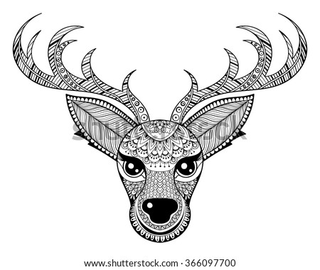 Zentangle vector reindeer adult antistress coloring stock for Deer coloring pages for adults