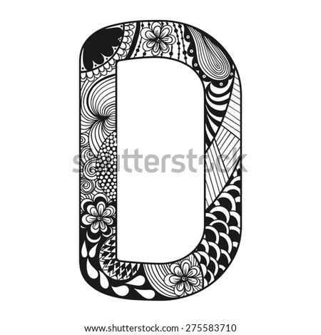 Zentangle stylized alphabet lace letter d stock illustration zentangle stylized alphabet lace letter d in doodle style hand drawn sketch font thecheapjerseys Gallery