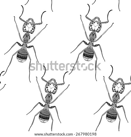 Zentangle stylized Black Ant seamless pattern. Hand Drawn Termite illustration. Sketch for tattoo or makhenda. Insect collection. - stock photo
