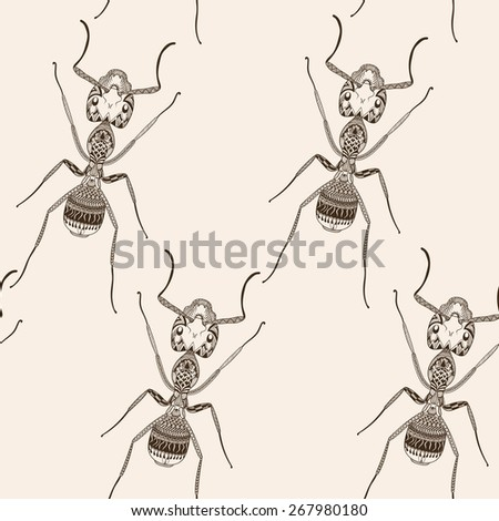 Zentangle stylized Brown Ant seamless pattern. Hand Drawn Termite  illustration. Sketch for tattoo or makhenda. Insect collection. - stock photo