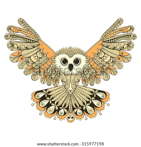 Zentangle stylized Brown flying Owl. Hand Drawn illustration isolated on white background. Vintage sketch for tattoo design or makhenda. Bird collection.