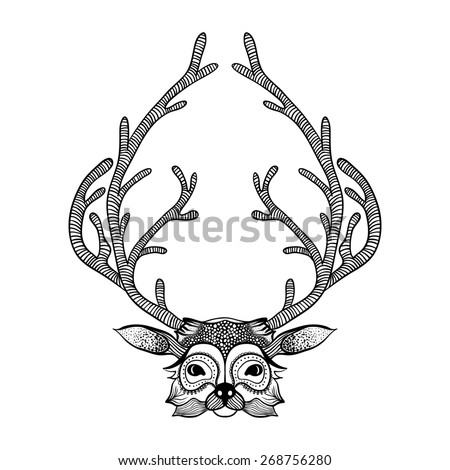 Zentangle stylized deer. Hand Drawn illustration. Sketch for tattoo or makhenda. Animal collection. - stock photo