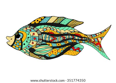 Zentangle stylized Fish. Hand Drawn doodle Art illustration isolated on white background. Sketch for tattoo or makhenda. Sea food collection.