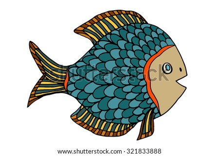 Zentangle stylized Fish. Hand Drawn doodle illustration isolated on white background. Sketch for tattoo or makhenda. Sea food collection.