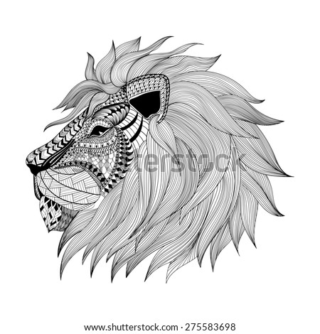 Zentangle stylized Lion face. Hand Drawn doodle  illustration. Sketch for tattoo or makhenda. Animal collection. - stock photo