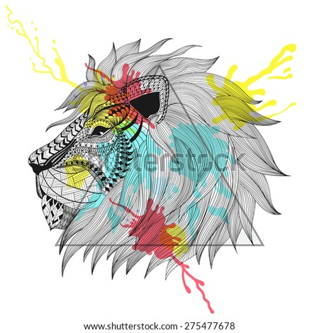 Zentangle stylized Lion face in triangle frame with watercolor ink drop. Hand Drawn doodle  illustration. Sketch for tattoo or makhenda. Animal collection.