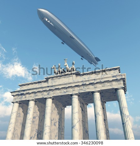 Zeppelin above the Brandenburg Gate in Berlin Computer generated 3D illustration - stock photo