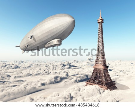 Zeppelin and Eiffel Tower over the clouds Computer generated 3D illustration