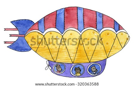 Zeppelin Watercolor Illustration - stock photo
