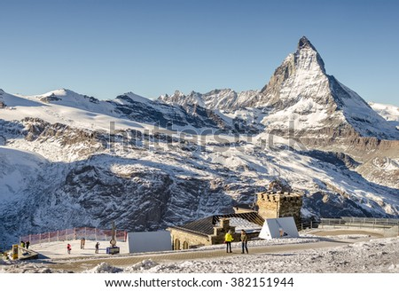 Zermatt/Switzerland-Dec23 : View of  Matterhorn from train to Gernergrat station on Dec 23,2015 in Zermatt/Switzerland - stock photo