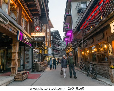 Zermatt, Switzerland - May 2016 : Zermatt on dusk hour where is the popular tourist destination in Switzerland where is famed as a mountaineering and ski resort of the Swiss Alps.