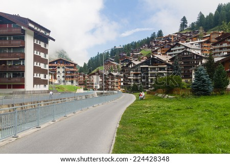 Zermatt, Switzerland, the famous ski resort town in the Swiss Alps at the base of the Matterhorn. - stock photo
