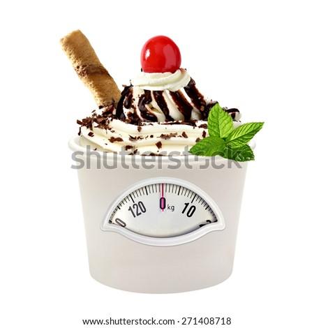 Zero calorie diet ice cream on white background - stock photo
