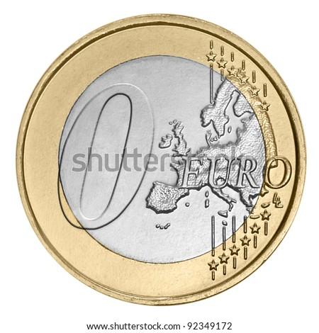 Zero euro coin on white - stock photo