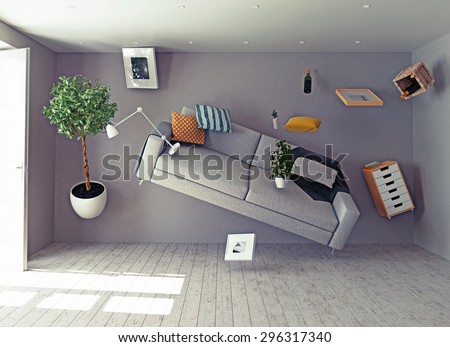 zero-gravity interior. 3d creative concept - stock photo