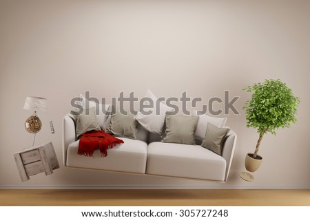 Zero gravity living room with hoovering sofa and furniture (3D Rendering) - stock photo