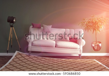 Zero Gravity Sofa Hovering Living Room Stock Illustration 593686850 ...