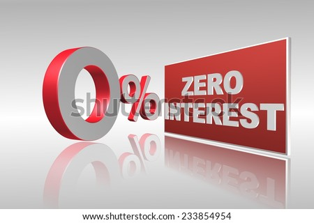 Zero interest 3d illustration for business, banking and financial related - stock photo