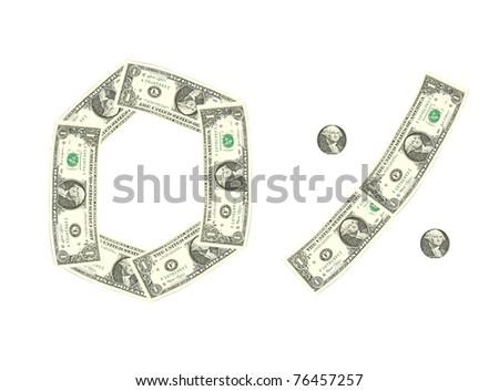 Zero percent,dollar bill - stock photo
