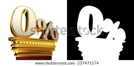 Zero percent figure on a golden platform with brilliant lights over white background with alpha map for easy isolation - stock photo