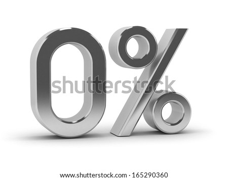 zero percent, isolated on white background - stock photo