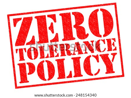 ZERO TOLERANCE POLICY red Rubber Stamp over a white background. - stock photo