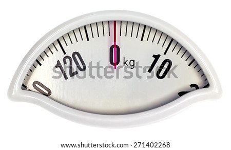 Zero weight scale in kg with clipping path - stock photo