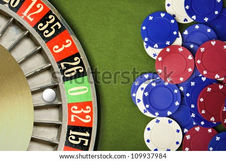 Zero wins at roulette table - stock photo