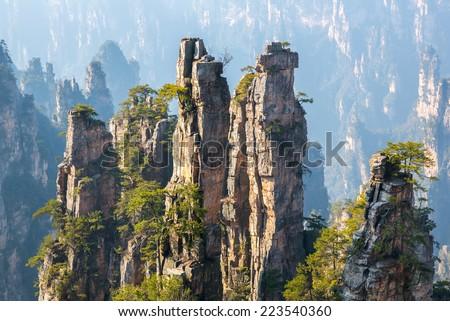 Zhangjiajie National forest park at Wulingyuan Hunan China - stock photo