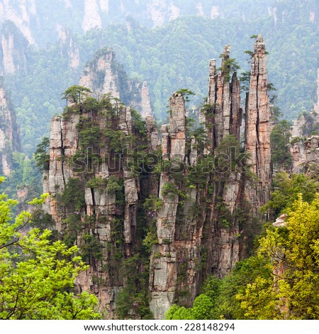 Zhangjiajie National Forest Park in the Wulingyuan Scenic Area, Hunan Province, China - stock photo