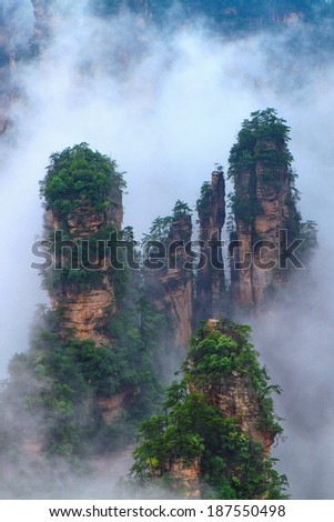 Zhangjiajie National Park in Fog - China Hunan Province - stock photo
