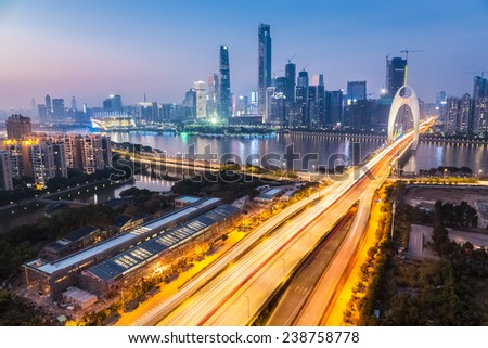 zhujiang new town in nightfall , beautiful the southern chinese city  - stock photo