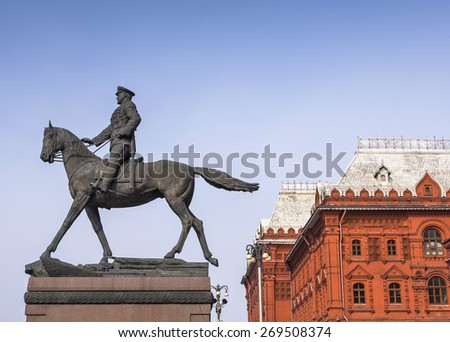 Zhukov monument on Red Square in Moscow, Russia