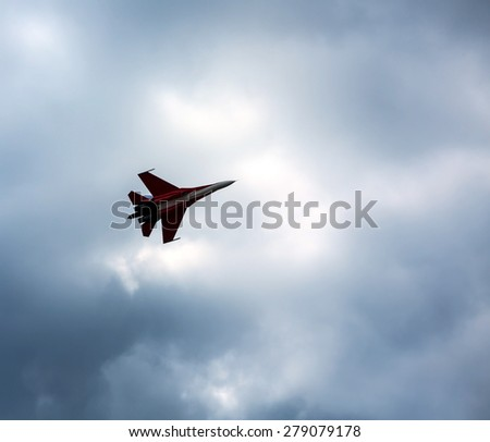 "ZHUKOVSKY, MOSCOW - AUG 16: Russian fighter aircraft MIG-29 at ""AirShow Furious 2014"" on August 16, 2014 in Zhukovsky, Moscow region, Russia - stock photo"