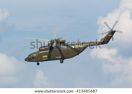 "ZHUKOVSKY, MOSCOW REGION, RUSSIA - AUG 27, 2015: A demonstration flight Russian heavy transport helicopter Mi-26 ""Halo"" at the International Aviation and Space salon MAKS-2015"