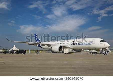 ZHUKOVSKY, MOSCOW REGION, RUSSIA - AUG 26, 2015: Airbus A350-900 is a long-range wide-body twin-engine passenger jet airliner at the International Aviation and Space salon MAKS-2015 - stock photo
